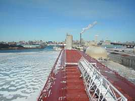 This ship carries mainly iron ore.