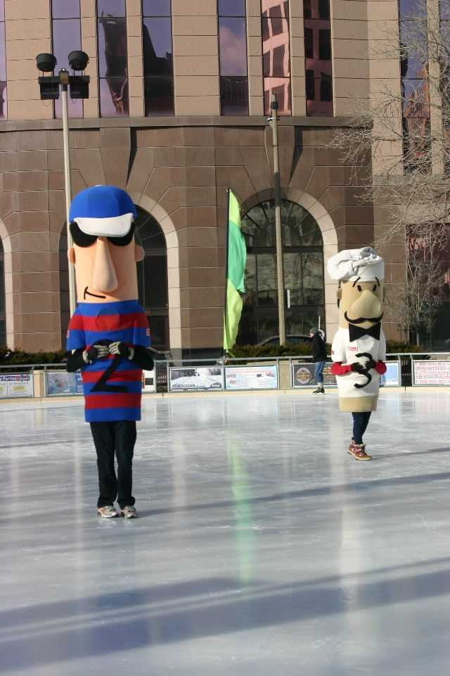 "The sausages were seen ""skating"" at the Slice of Ice rink."