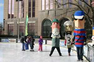 Free skating is available (if you bring your own skates) at the rink from December through March (weather permitting).