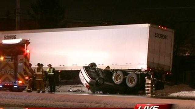 A car crashed into a semi in Brookfield, ending upside-down under the truck.Hillary Mintz reports from the scene.