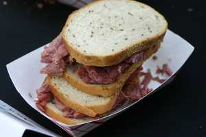 Corned beef was the center of attention at center court of The Shops of Grand Avenue today.