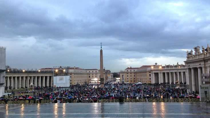 St. Peter's Square on night of first conclave vote. Photo taken by Kelly Taylor.