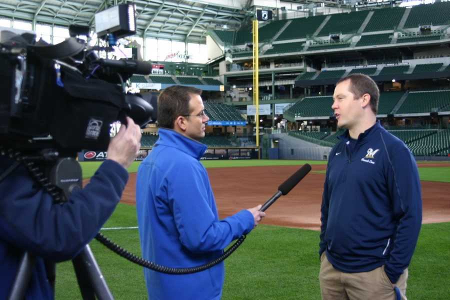 WISN 12's Patrick Paolantonio interviews Justin Scott the Director of Grounds.