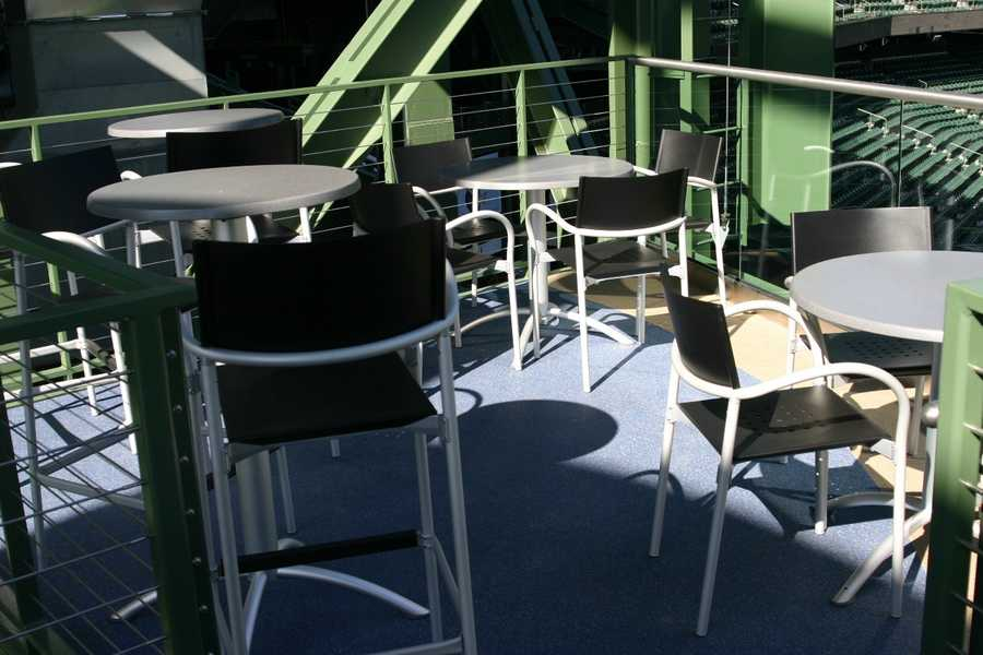 The Miller Lite Party Deck can accommodate groups of 35-70.