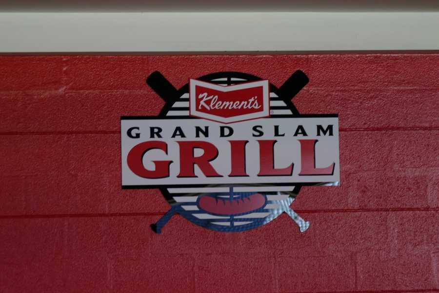 """One of the concession stands has been re-branded as the """"Klement's Grand Slam Grill""""."""