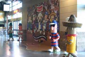 """Following the World Famous Klement's Sausage Race the winning sausage will be available for pictures in the """"Winner's Circle""""."""