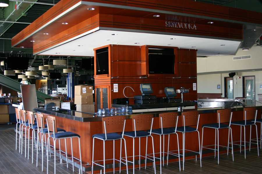 The main bar is still shaped like home plate.