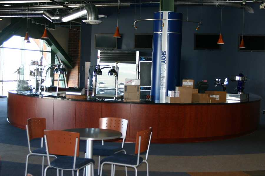 A concession stand on the far side was removed to make way for this new cooking area.