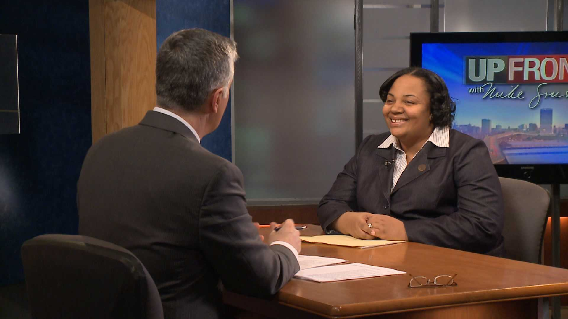 "Milwaukee Alderwoman Milele Coggs with ""UpFront"" host Mike Gousha."