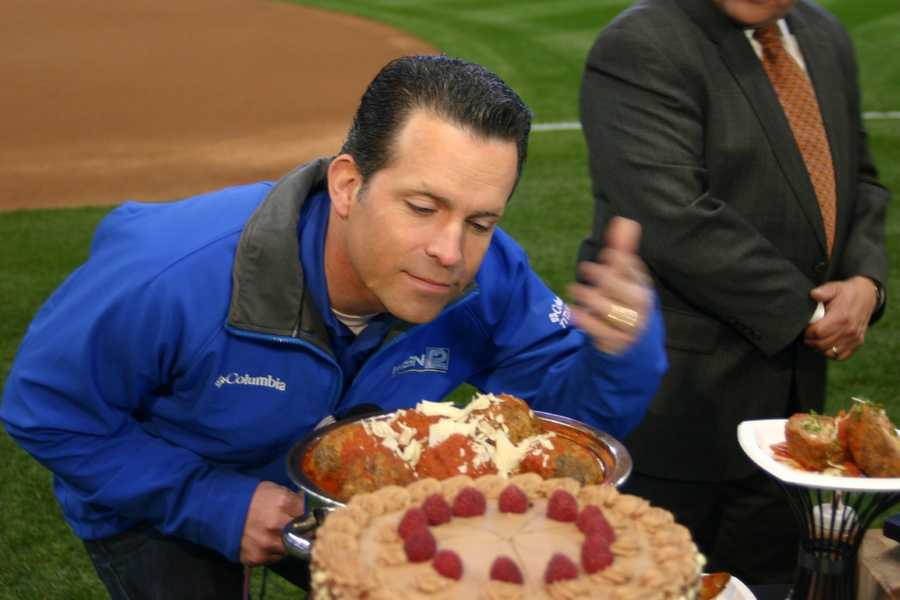 WISN 12 News' Craig McKee taking in all the delicious smells of the ballpark fare.