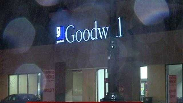 Police are searching for the robber who held up a Goodwill store and tied up employees.