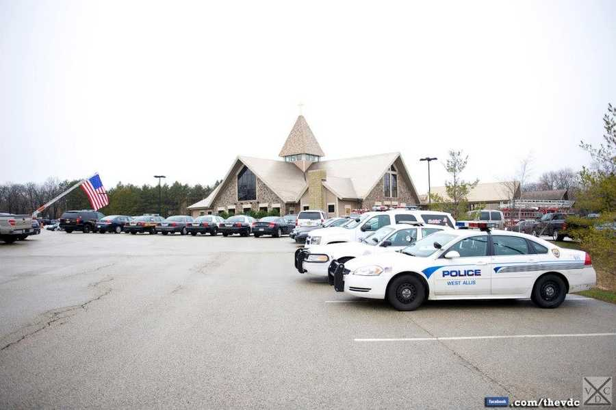 Representatives from over 80 departments came to pay honor to Brookfield officer Don Bishop Thursday.