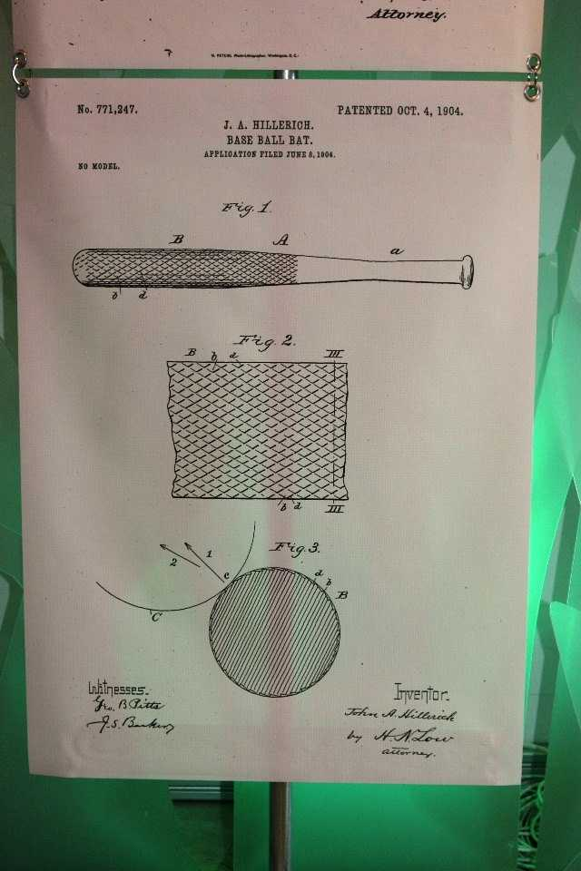 J.A. Hillerich's patent #771,247.  This baseball bat patented October 4, 1904.