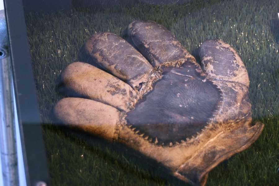 1880's- Sewn-in finger tip baseball glove.  Manufactured in tan so that players could attempt to hide the fact that they were actually wearing gloves.