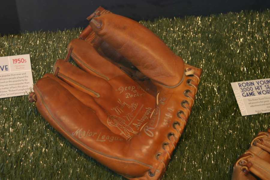 1950's Mickey Mantle baseball glove.  This glove remains the most popular selling glove of all time.