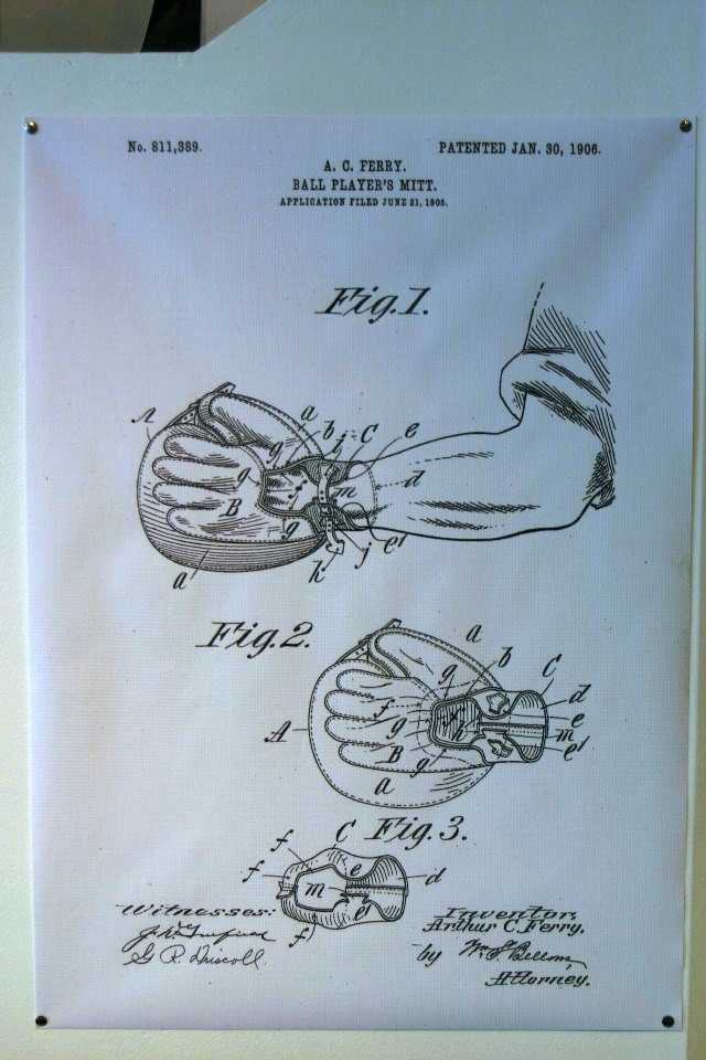 Ball player's mitt patent application #811,389.  Patented Jan 30, 1906.