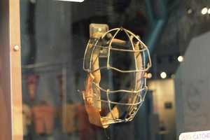 1878 Catchers mask. The major innovation was a head rest and padded interior.