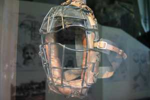 1920's Catchers mask with sun visor. The obvious addition helped the catcher see the ball leaving the pitchers hand.