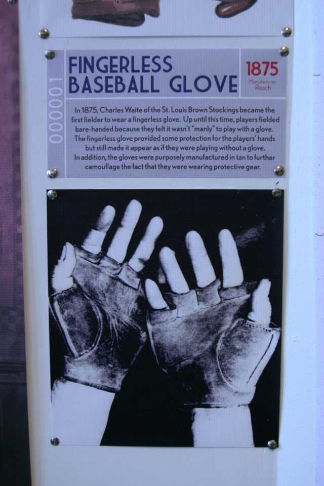 1875- Fingerless baseball glove.  Before this time players fielded with bare-handed.