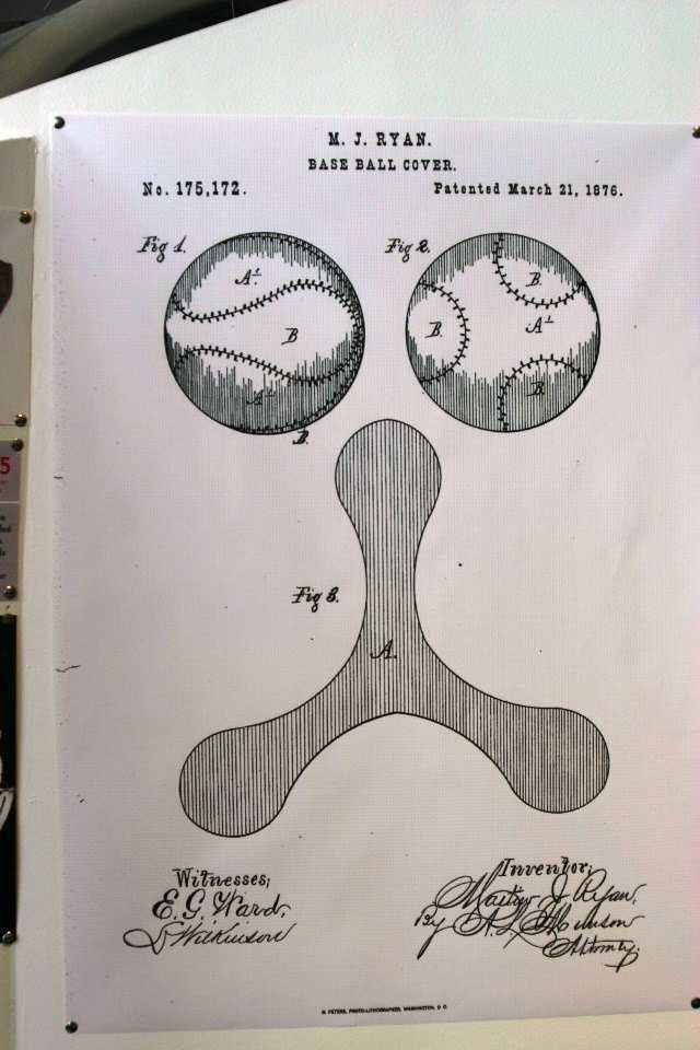 What is more central to baseball than the ball?  This patent from M.J. Ryan is dated March 21, 1876.