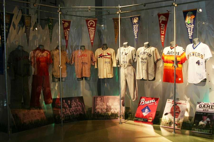 By 1900 all Major League Baseball teams were wearing uniforms.  In 1916 the Cleveland Indians became the first team to wear numbers on their uniform.