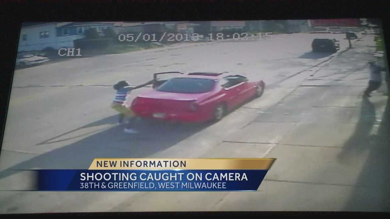 A shooting in West Milwaukee was caught on surveillance camera Wednesday afternoon. At least one person was injured.