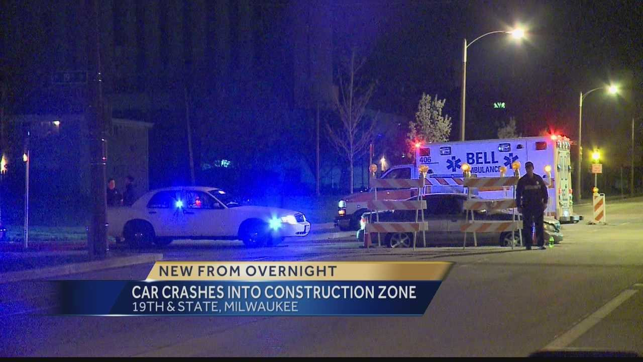 Milwaukee police arrested a suspected drunk driver after he crashed his car into a construction zone.