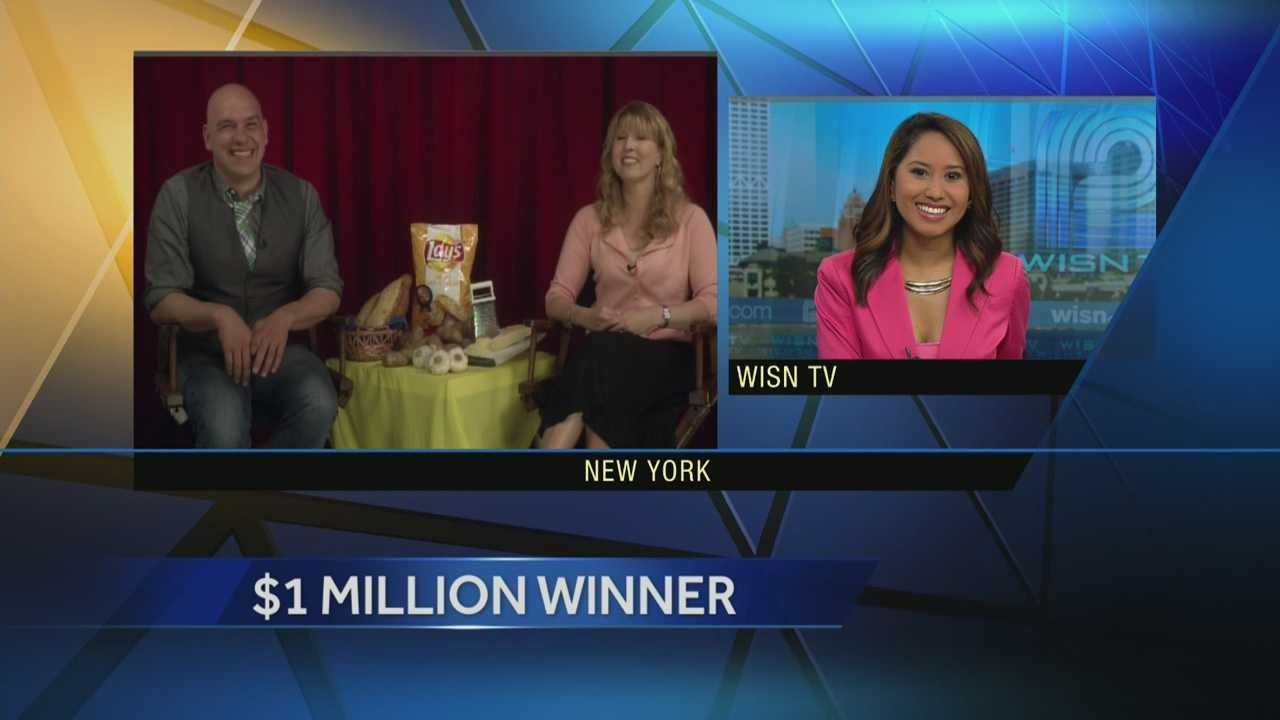 "Watch the entire interview with WISN 12 News' Marianne Lyles, Wisconsin's Karen Weber-Mendham, and chef Michael Symon from ABC's ""The Chew.""  Weber-Mendham won a million dollars in a Lays Potato Chip contest to find a new flavor.  Her winning idea:  cheesy garlic bread."