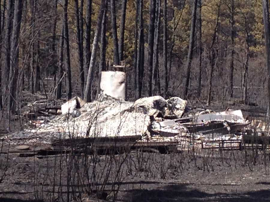 Cabins destroyed by the fire