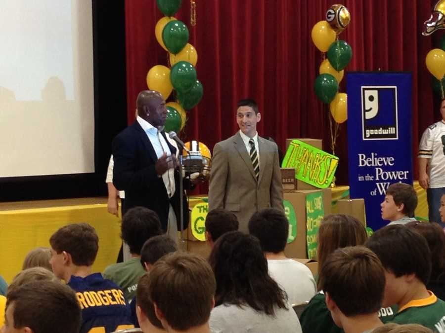 John Long Middle School in Grafton collected 78,000 items for donation at Goodwill, and earned a visit from Donald Driver.