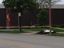 Four people were injured May 23 when a vehicle drove into a Milwaukee County bus stop shelter on South 27th Street near Hope Avenue.