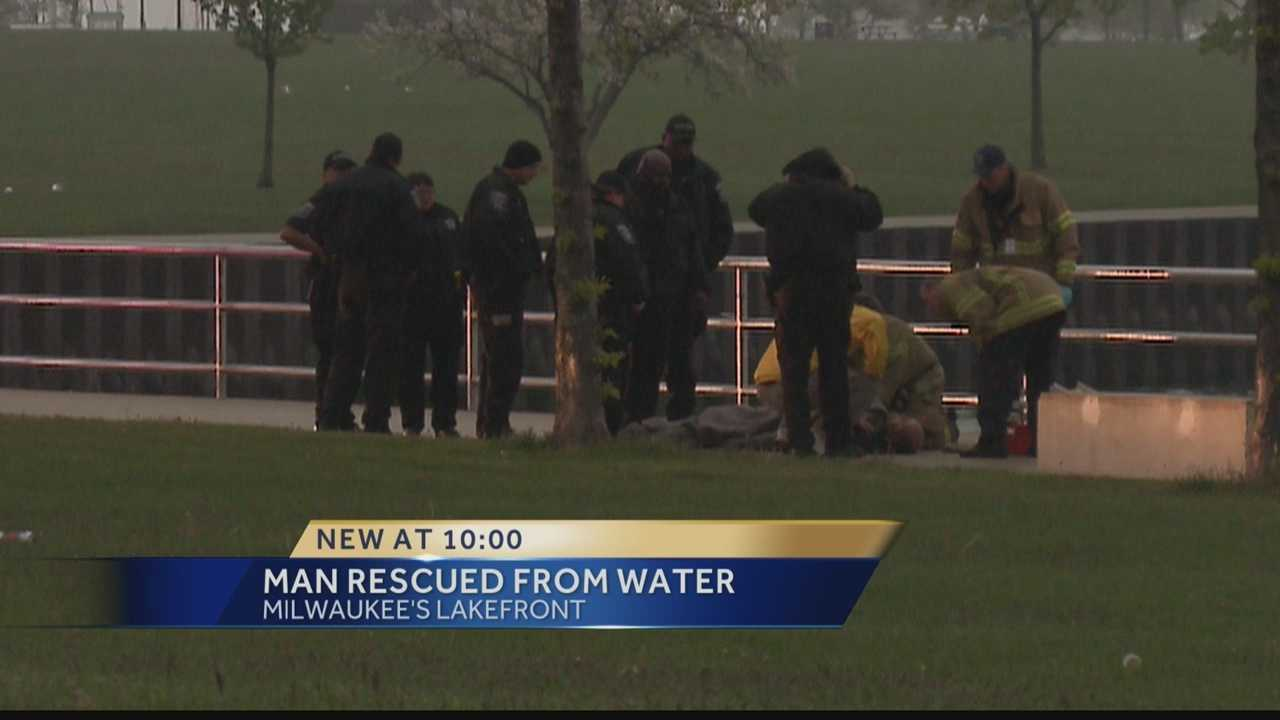 A man had to be rescued from Lake Michigan Monday night.
