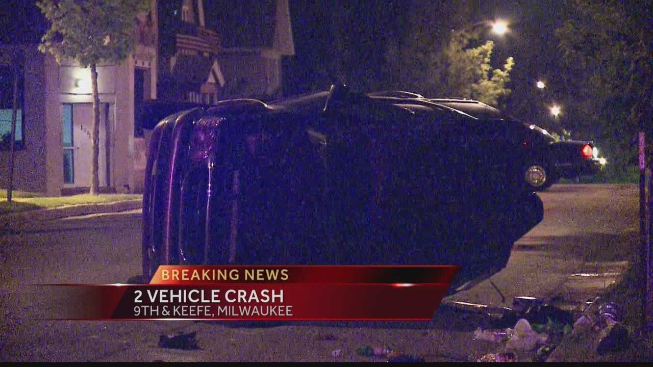 A car rolled over in an overnight crash in Milwaukee.