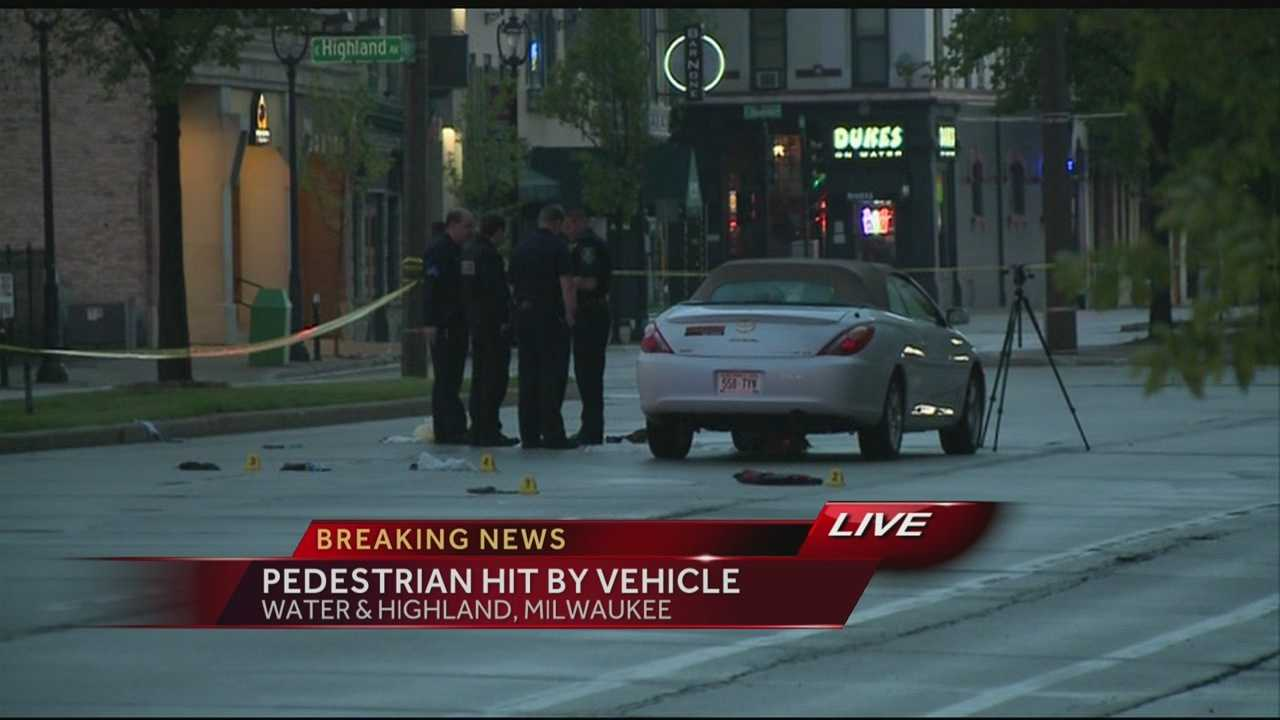 A car hit a person in downtown Milwaukee early Friday morning.  WISN 12 News' Nick Bohr reports from the scene.