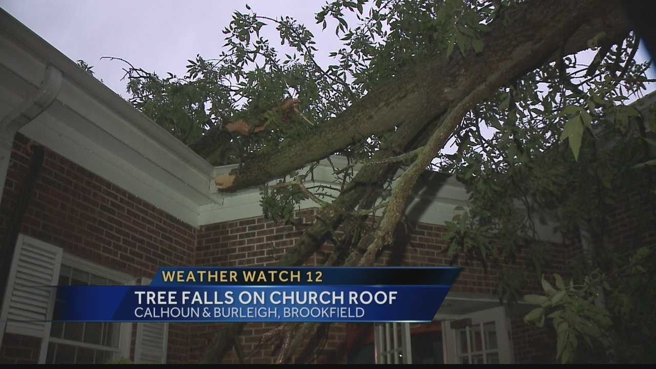 More than 100 people were inside the church when the tree came down.