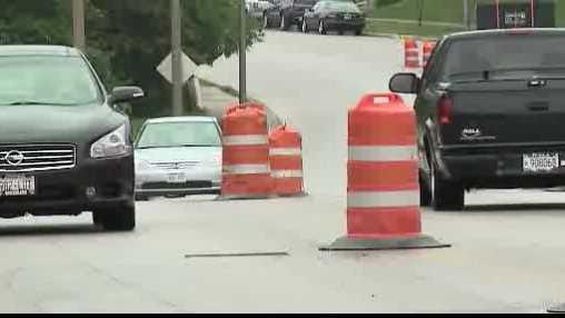 road work, orange barrel