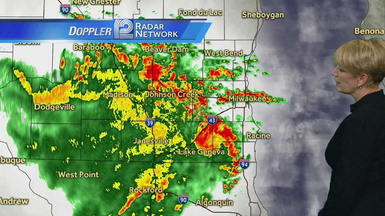 Our second round of storms is moving through southeast Wisconsin between 9 a.m. and 11 a.m.   A third round of stronger storms is possible this afternoon.