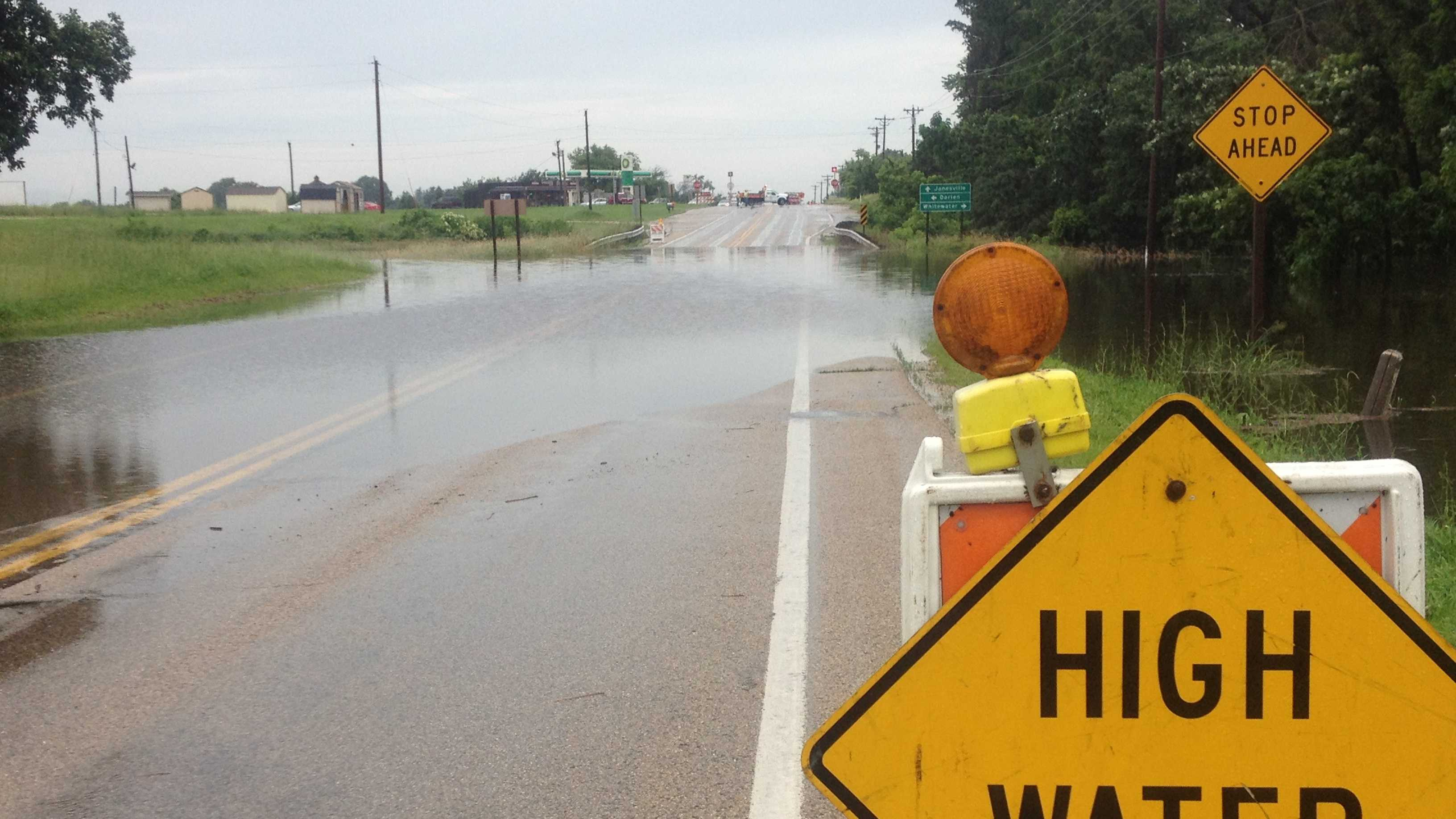Wis. Hwy 11 in Walworth County closed due to high water on June 26, 2013