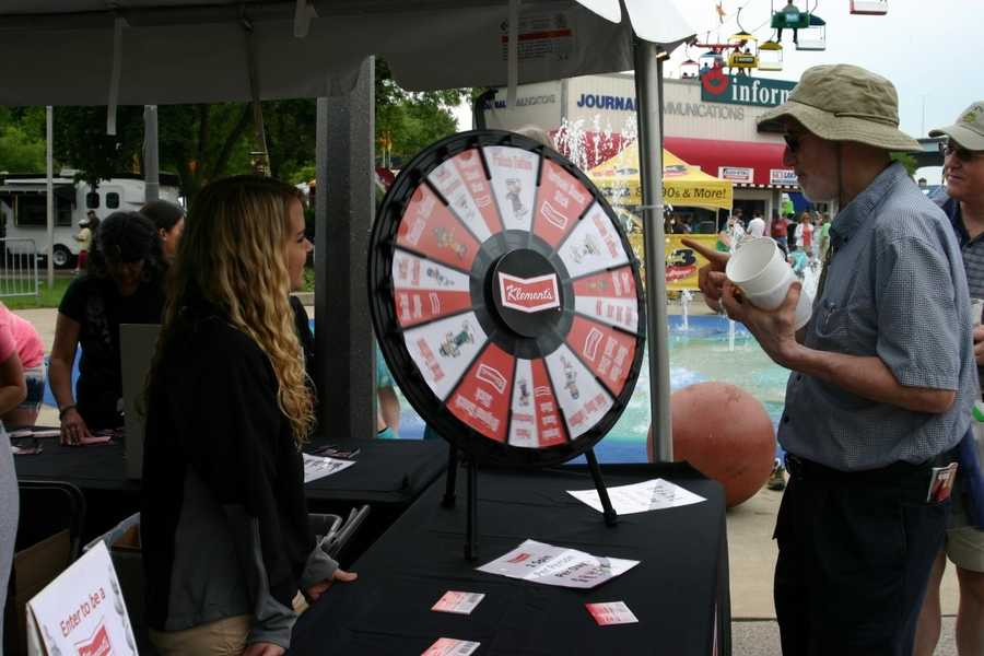The Klement's booth offers a prize wheel to Fest goers this year.