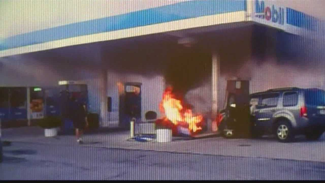 A woman loses control of her SUV Tuesday night and crashes into a gas pump in Caledonia.