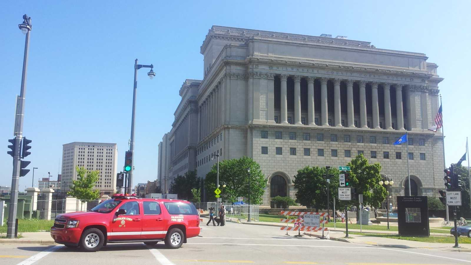 Firefighters respond to the Milwaukee County Courthouse July 15, 2013.