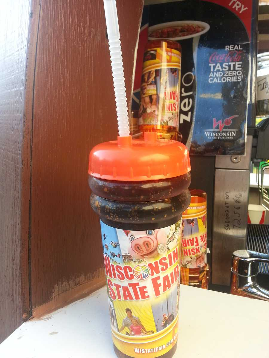 Deal alert:Get the official Wisconsin State Fair Souvenir Cup at over 90vendor locations throughout the Fair Park. This Fair-themed32 oz. cup is filled with your favorite Coca-Cola product for only$5 and refills are just $2 at any participating vendor.
