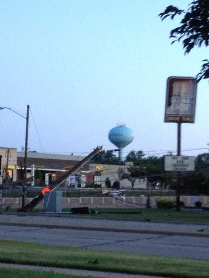 Power lines and poles littered the north side of Appleton. The intersection of Northland and Richmond is pictured here.