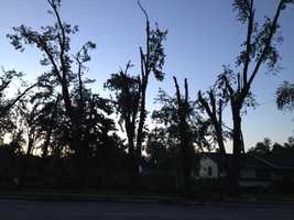 The Appleton Police Department estimated 90 percent of the city's 70,000 residents were without power early Wednesday morning.