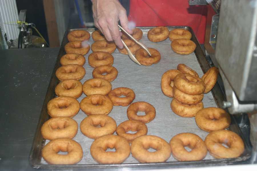Fresh baked apple cider doughnuts are fair treat.