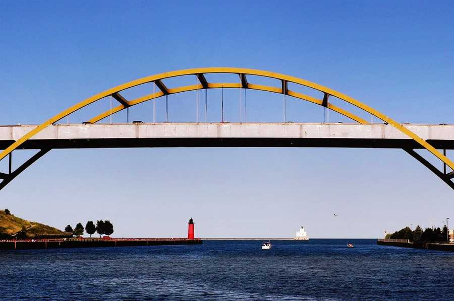 The Daniel Hoan Memorial Bridge is a tied arch bridge that connects Interstate 794 in downtown Milwaukee, Wisconsin, to the Lake Freeway across the Milwaukee River inlet. Originally called the Harbor Bridge, it was renamed after Daniel Hoan, a Socialist, and one of the longest serving mayors of Milwaukee.