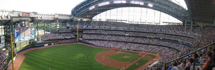 Miller Park features North America's only fan-shaped convertible roof, which can open and close in less than 10 minutes. Large panes of glass allow natural grass to grow.