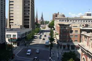 Looking West up Wisconsin Avenue (from four stories up!).