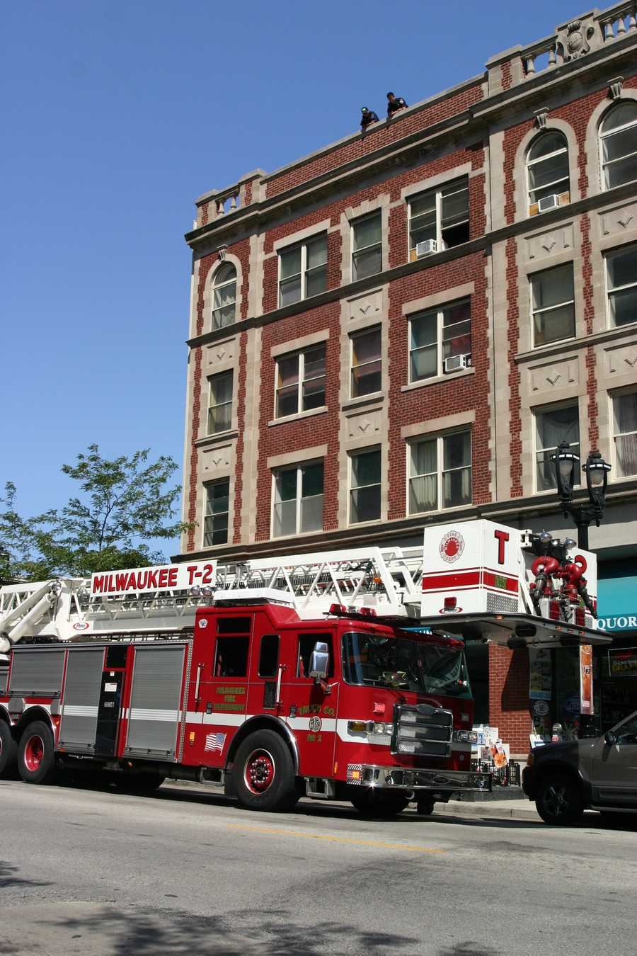 No real roof access on this building so they enlisted the help of the Milwaukee Fire Department.