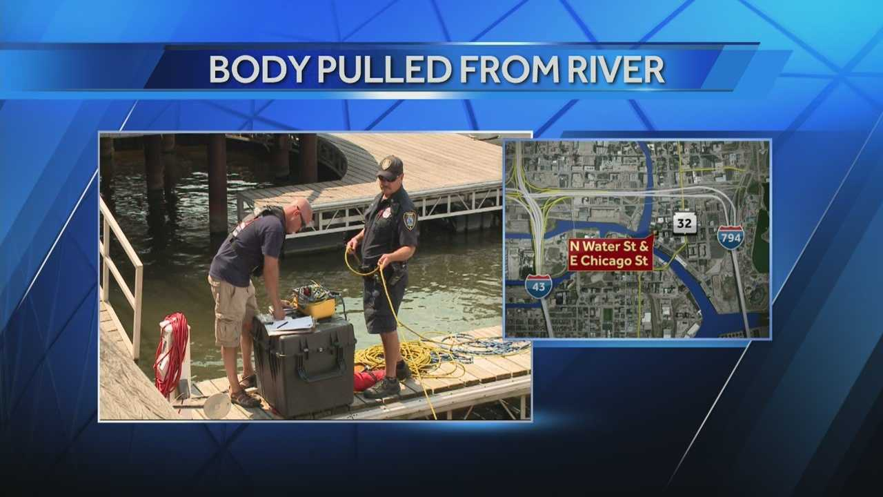 The body of a man believed to have fallen into the river Monday night was located by divers Tuesday afternoon.